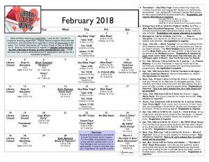 calendar february 2018